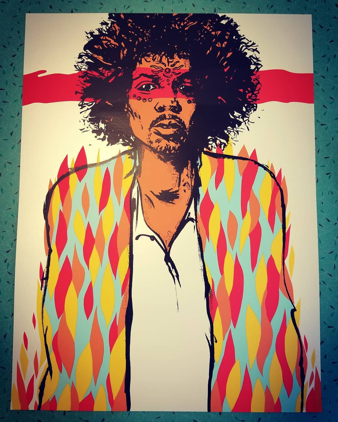 JERMAINE ROGERS print poster JIMI HENDRIX WILL I LIVE TOMORROW Gold handbill